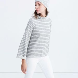 Madewell gray and white striped turtle neck tee